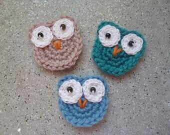 3 owls crochet wool handmade