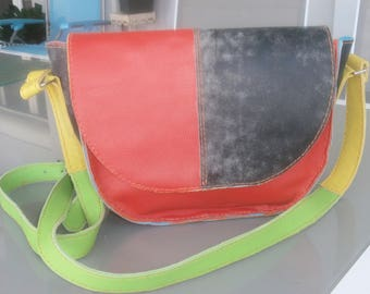 Multi coloured cowhide leather shoulder bag