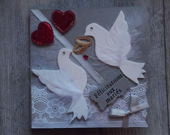 """""""Congratulations to the newlyweds"""" card with doves"""