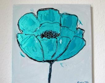 Table modern turquoise flower - table flower 30 x 30.