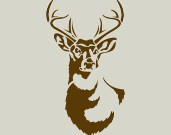 Deer. Deer stencil. Deer drawing. Deer head (ref 344)