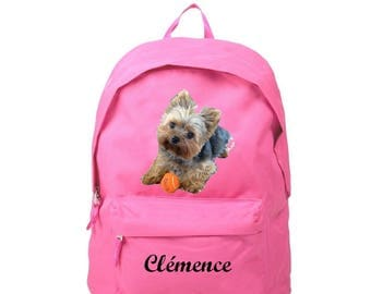 Backpack pink Yorkshire personalized with name