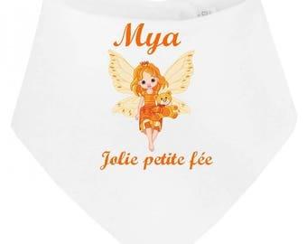 Personalized with name pretty little fairy baby bandana bib