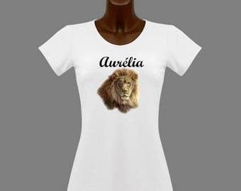 T-shirt women White Lion personalized with name