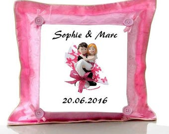 Married Couple, personalized with name pink cushion