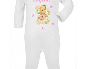 Pajamas baby girl vintage personalized with name