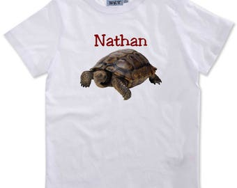 Boy turtle personalized with name t-shirt