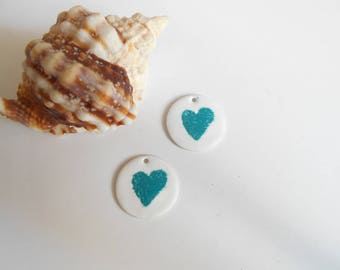 x 2 sequins white turquoise heart