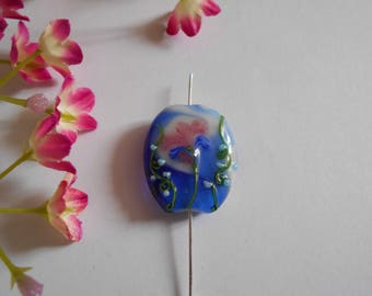 Blue Square 3 x 2 cm comic flower bead