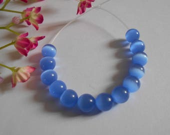 x 12 10 mm blue cat eye beads