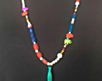 Boho syle animal bead tassel necklace