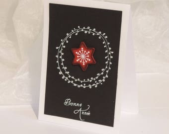 new year card, wreath and star. Happy new year greeting card