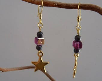 Star gold charm earrings plum and black beads