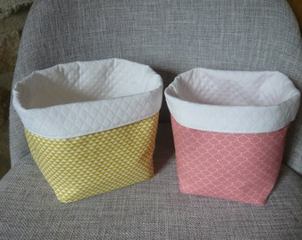 pair of baskets, bright pastel colors, graphics