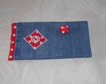 protects checkbook - denim and Red cotton with white dots