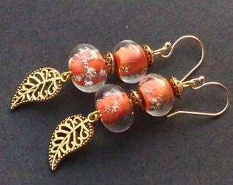 Orange and gold bubbles glass beads earrings