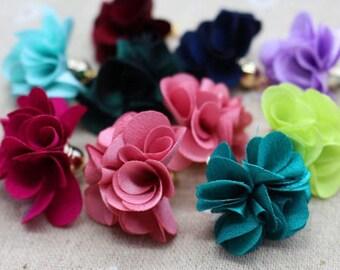 10 pretty flowers fabric spirit tassel mix colors, Golden cord end 28mm