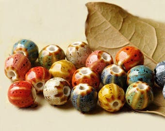 10 beautiful melons mix 10 mm porcelain beads