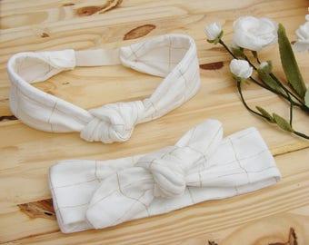 Bandeaux / headbands jersey de coton blanc et carreaux dorés