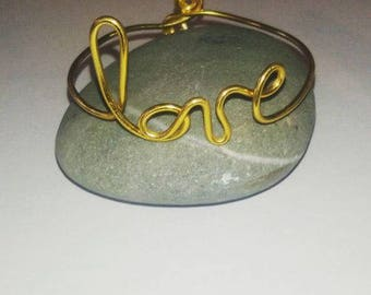 love gold aluminum Wire Bracelet