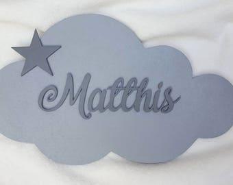 Wood cloud star door plaque