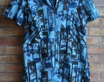 Vintage blue Printed tunic dress