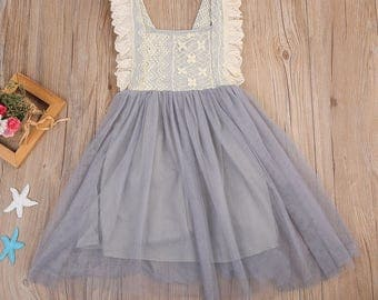 Lace dress with tulle