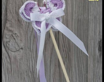 20 sticks butterflies for out of Church ribbons: purple and white crochet and satin ribbon