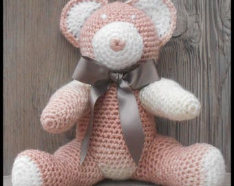 Brown Heather and crochet Teddy bear