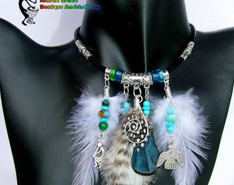 Precious leather Native American feathers natural necklace, Pearl blue - green Crystal beads and Peru Opal