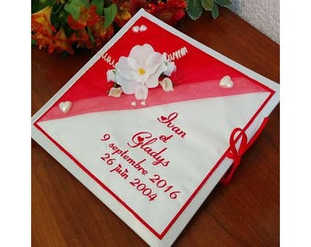 Wedding guestbook personalized and embroidered names with orchids or other / guest book