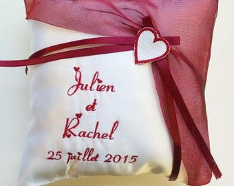 Personalized wedding ring bearer pillow / holder with heart in Burgundy