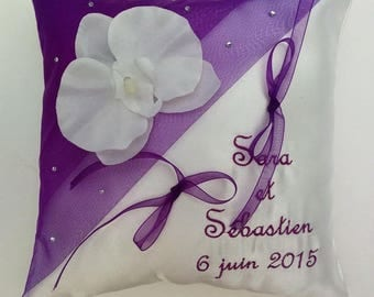 Pillow personalized and embroidered with Orchid purple tone