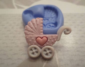 Mold for polymer clay stroller baby 2.8 cm by 2.3 cm