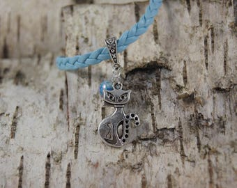 Blue braided bracelet and charm cat - Ref.bt003