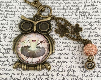 OWL clock ruffled bag charm