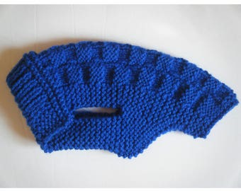 Coat / sweater for very small dog 16cm 16 x 20cm - Royal Blue back