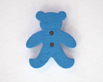 20mm x 10 bear wooden button: Blue - 001875