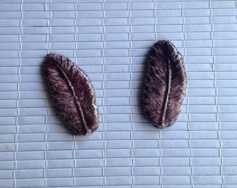 Set of 2 Purple feathers raku pottery for Mosaic or any other item