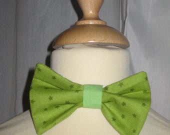 Bow tie green cotton printed with green stars