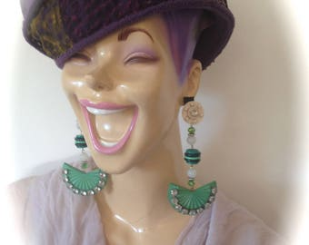 Spirit art deco green and rhinestone earrings