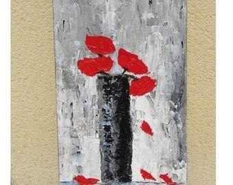 Art painting - poppy oil palette knife on canvas painting. Glossy varnish finish