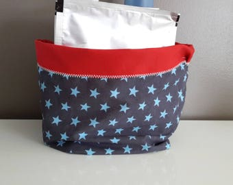 Basket in blue and red fabric with stars