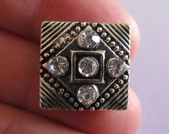 square silver snap with rhinestones 18mmx18mm