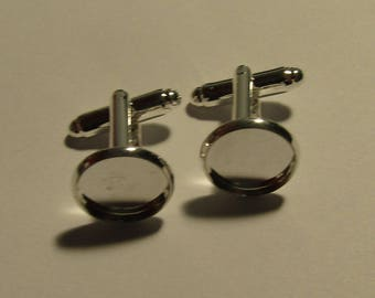 a pair of silver cufflinks to glue a cabochon 12mm