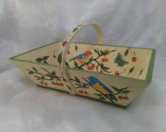 PAINTED WOOD BASKET