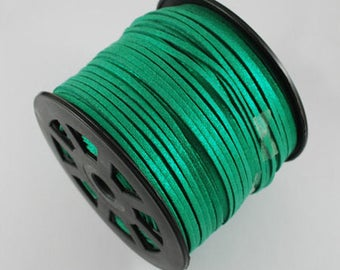 Suede cord green 3mm wide 1 mm thick