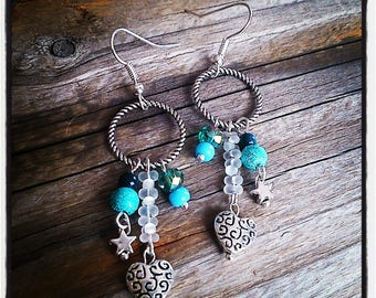 Earrings silver tone ring and blue beads