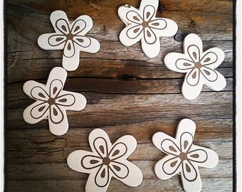 set of 6 wooden 35mm Brown and beige flowers