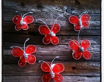 set of 6 butterflies red nylon scrapbooking embellishment